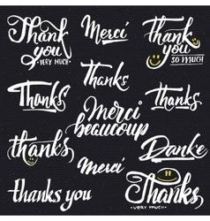 Thank you merci beaucoup danke- typographic vector image
