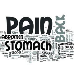 z back and stomach pain text word cloud concept vector image vector image