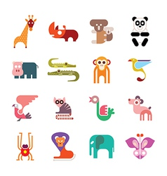 Zoo animal icos vector