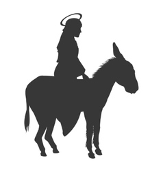 Virgin mary riding donkey silhouette icon vector