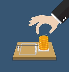 Businessman hand pick money from mousetrap vector