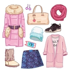 Winter fashion woman icon set vector