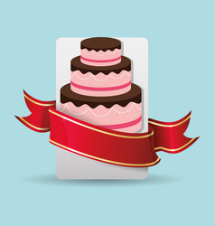 Birthday cake wrapped red ribbon vector