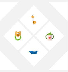 flat baby set of rattle toy nursing bottle and vector image