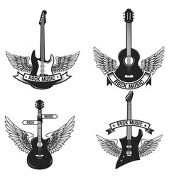 set of labels with guitars and wings rock music vector image
