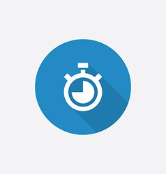 Timer flat blue simple icon with long shadow vector