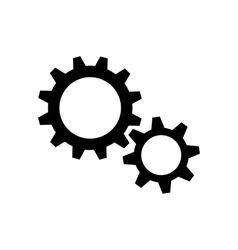 Two black gear wheels vector