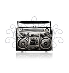 Retro cassette recorder sketch for your design vector
