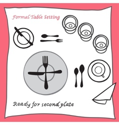 Ready for second plate dining table setting vector