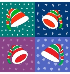 Set of hats christmas elf on difference vector