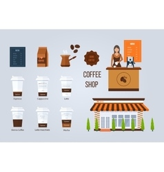 Coffee shop design elements young vector