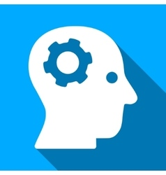 Thinking mechanical head flat long shadow square vector