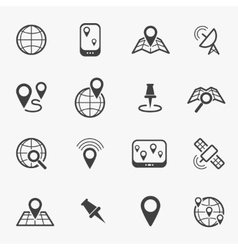 Location and navigation line icons vector