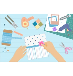 Scrapbooking top view vector