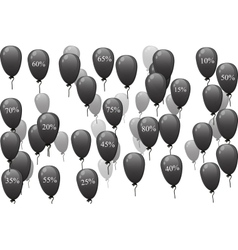 Black balloons with discount vector