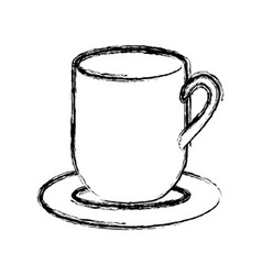 Blurred silhouette dish porcelain with mug vector