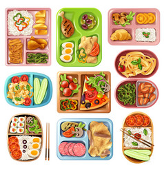 Boxed lunches set vector