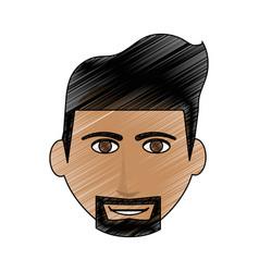 Color pencil cartoon front face man with beard vector