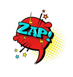 Comic speech chat bubble pop art style zap vector