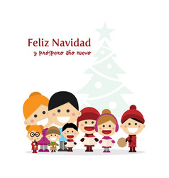 Cute family singing carols at christmas night vector