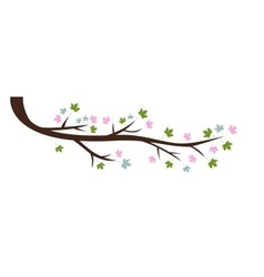 Decorative spring branch tree silhouette with gree vector