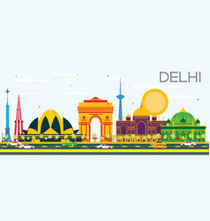 Delhi india skyline with color buildings and blue vector