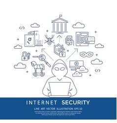 digital blue internet security vector image vector image