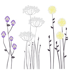Drawing blooming flowers vector image