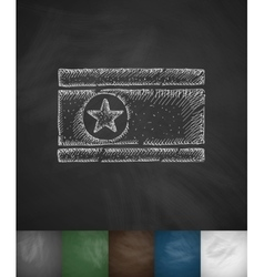 Flag of North Korea icon Hand drawn vector image