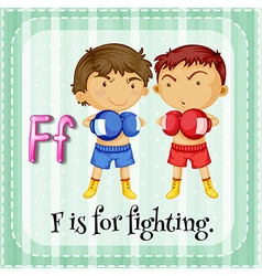 Flashcard letter f is for fighting vector