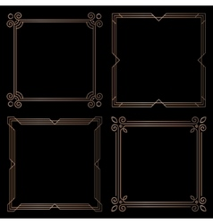 Golden geometric square frames design elements vector