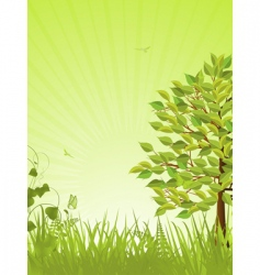 green tranquil background and tree vector image vector image