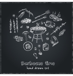 hand drawn set with barbecue tools on black vector image vector image