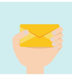hand with envelop flat design vector image vector image