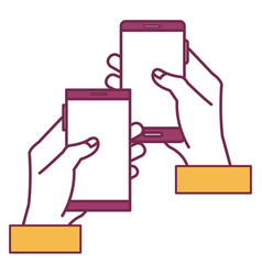 Hands human with smartphones device isolated icon vector