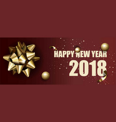 happy new year 2018 greeting card golden vector image