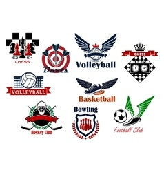 Heraldic emblems and symbols for sport team vector image vector image