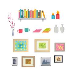 Interior design stylish decorative elements set vector