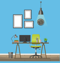 interior equipment of a modern home office vector image vector image