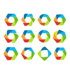 Isolated abstract colorful hexagon and round shape vector