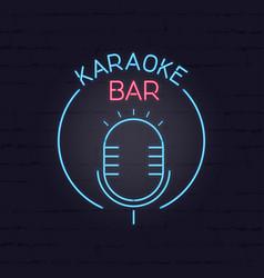 karaoke neon signboard retro sign for karaoke and vector image vector image