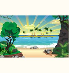 Landscape island with palm trees in the ocean vector