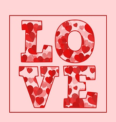 Love text word with red hearts vector image