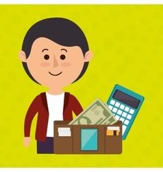 man calculator wallet money vector image