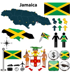Map of Jamaica vector image vector image