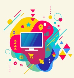 Monitor screen on abstract colorful spotted vector image