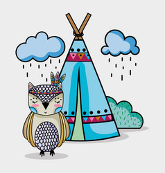 Owl animal tribal with camp and clouds vector