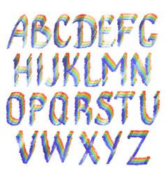 rainbow english alphabet letters vector image