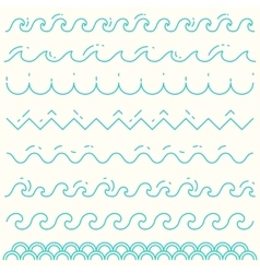 Set linear waves blue wave line pattern vector image vector image