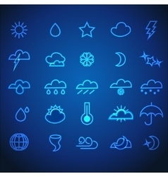 Set of neon stroke weather icons vector